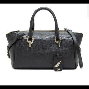 DVF Pebbled Leather Satchel Black